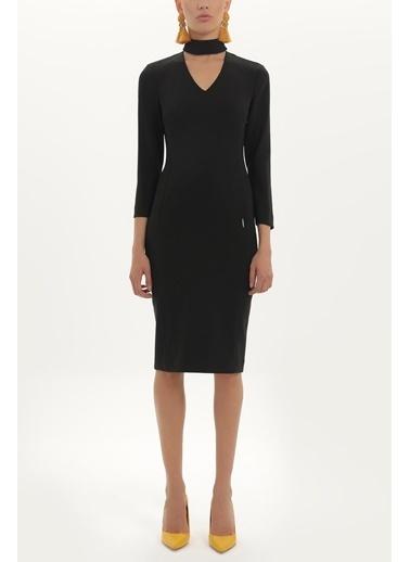 Societa V Yaka Dar Kesim Elbise 92224 Siyah